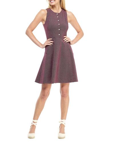 Grid Dot Jacquard Sleeveless Fit-and-Flare Dress