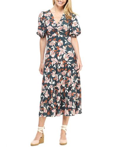 Lily-Print V-Neck Short-Sleeve Midi Dress