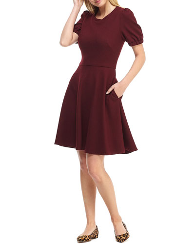Micro Rib Knit Short-Sleeve Fit-&-Flare Dress