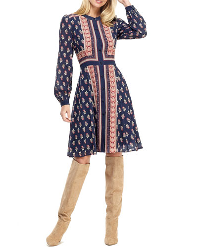 Woodblock Stripe Printed Crepe Button-Front Long-Sleeve Dress