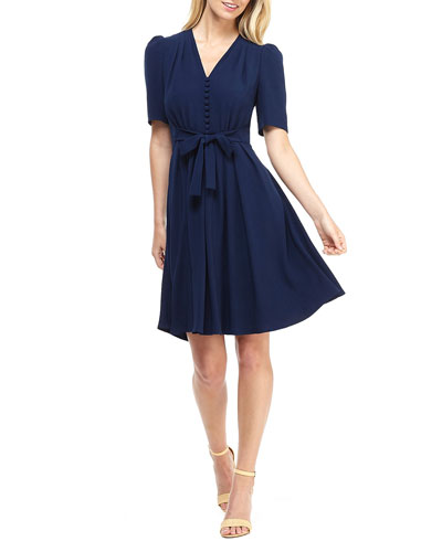 City Crepe V-Neck Elbow-Sleeve Tie-Waist Fit-&-Flare Dress
