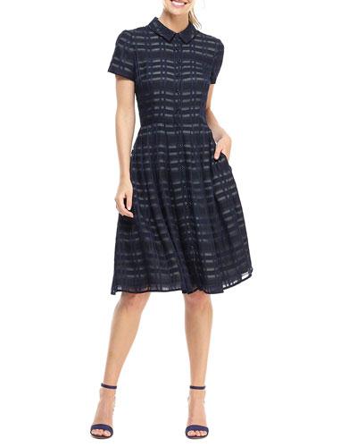 Lattice Lace Short-Sleeve Fit-&-Flare Shirtdress