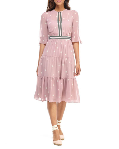 Abstract Dot Tiered Ruffle Midi Dress