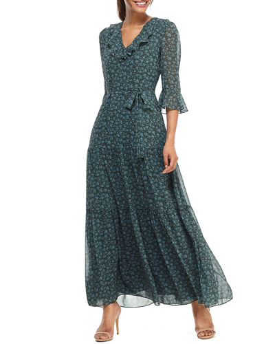 Pressed Floral Ruffle V-Neck 3/4-Sleeve Maxi Dress