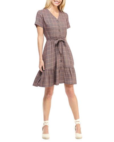 City Grid Plaid V-Neck Short-Sleeve Tie-Waist Dress