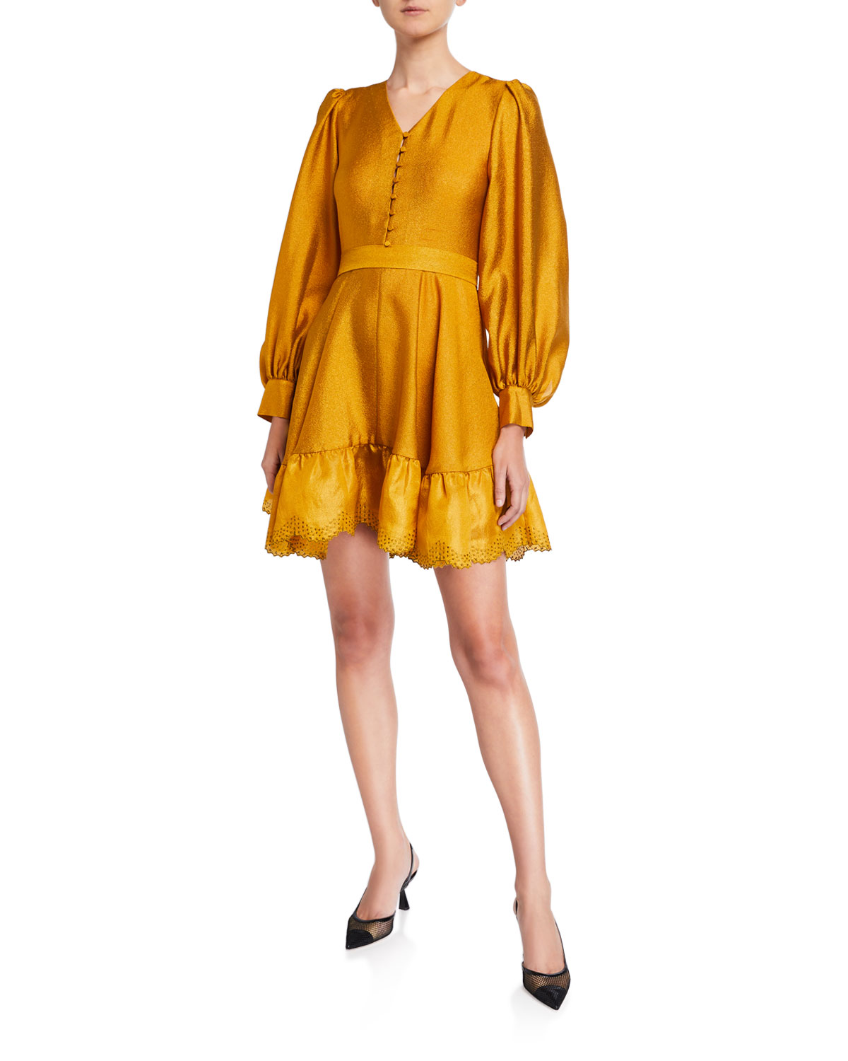 Stine Goya Farrow Belted Blouson-sleeve Flounce Dress In Gold