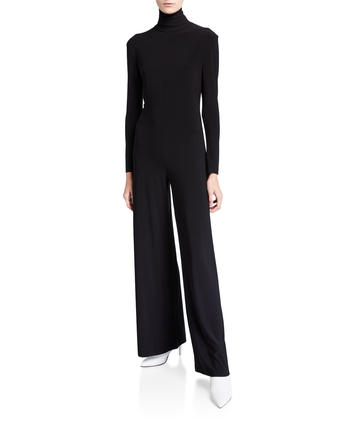 aesthetic appearance factory price premium selection Long-Sleeve Wide-Leg Turtleneck Jumpsuit in Black