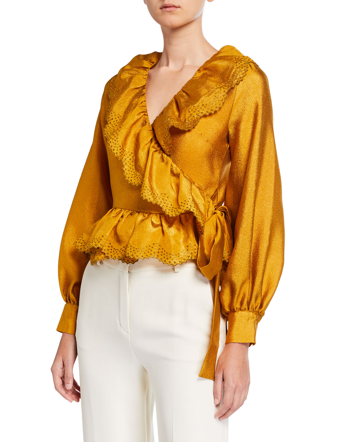 Stine Goya Carly Embroidered Long-sleeve Wrap Blouse In Gold