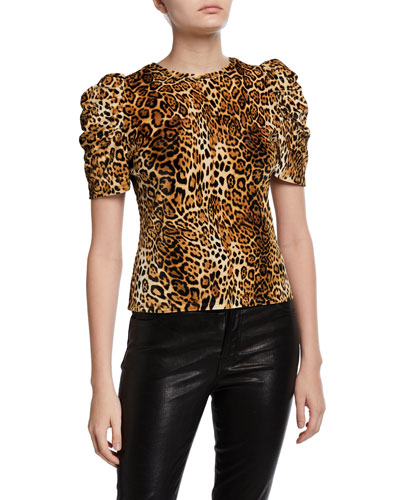 Leopard Print Animal Skin Womens 3//4 Sleeve Casual Scoop Neck Tops Tee