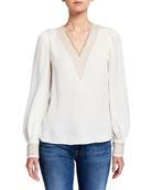 Elie Tahari Aura V-Neck Long-Sleeve Silk Shirt