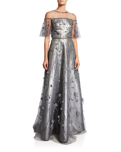 Metallic Flutter-Sleeve Illusion Gown with Beaded Tulle