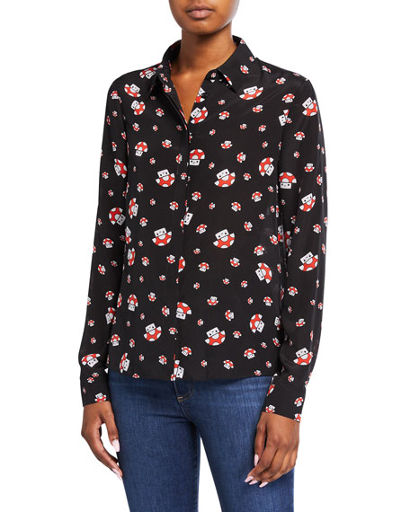Alice + Olivia Friends With You X Alice + Olivia Willa Silk Placket Top