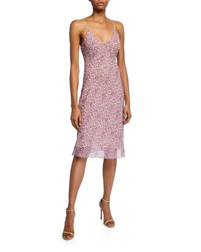 Leopard Seamed Slip Dress