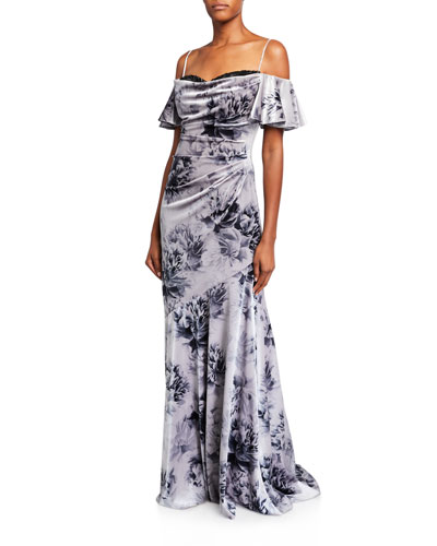 Floral Velvet Sweetheart Cold-Shoulder Lace-Inset Gown