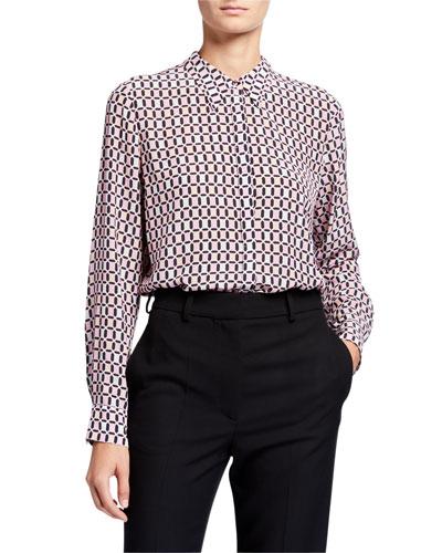 Ingunn Geo Long-Sleeve Button-Down Shirt