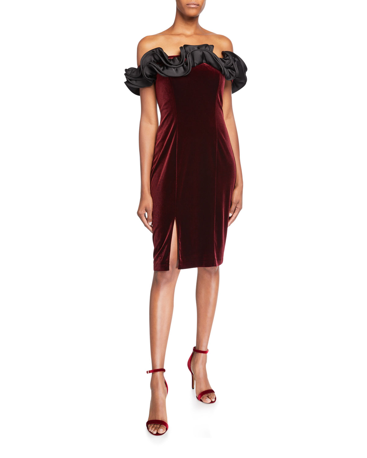Aidan Mattox Dresses RUFFLED OFF-THE-SHOULDER VELVET COCKTAIL DRESS