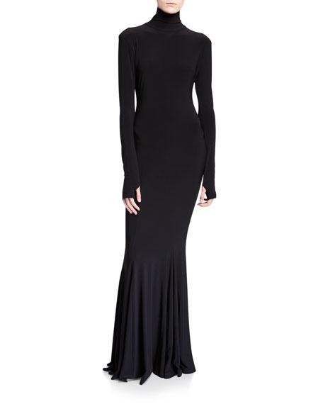 Norma Kamali Long-Sleeve Turtleneck Fishtail Gown