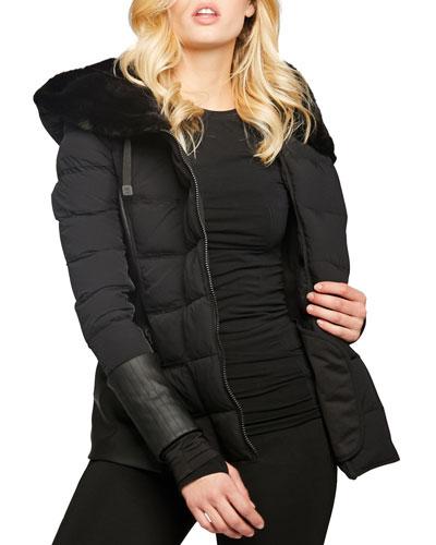 Asymmetric Moto Puffer Jacket w/ Faux Fur
