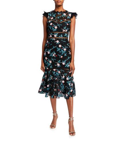 Scalloped Rose Lace Cap-Sleeve Midi Dress