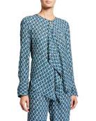 Elie Tahari Pernilla Printed Drape-Front Long-Sleeve Shirt