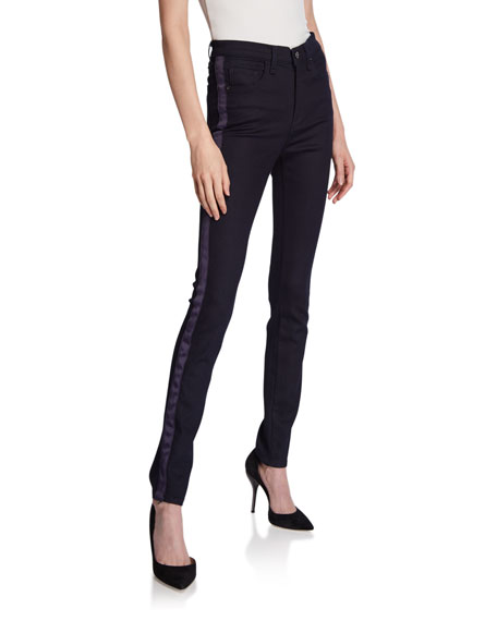 Veronica Beard Jeans Kate High Rise Skinny Jeans W/ Tux Stripe