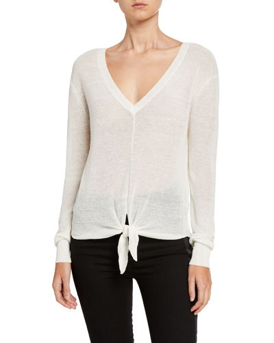 Arthur Long-Sleeve Tie-Front Pullover