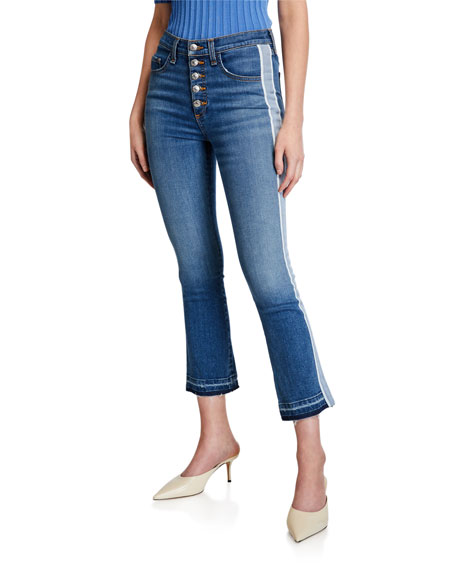 Veronica Beard Jeans Carolyn Baby Boot Cropped Jeans with Tux Side
