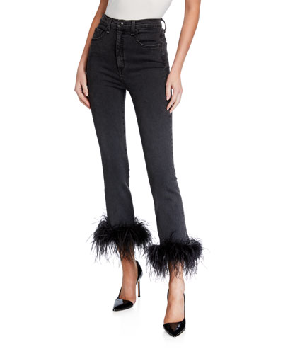 Kareena High-Rise Skinny Jeans w/ Feathers