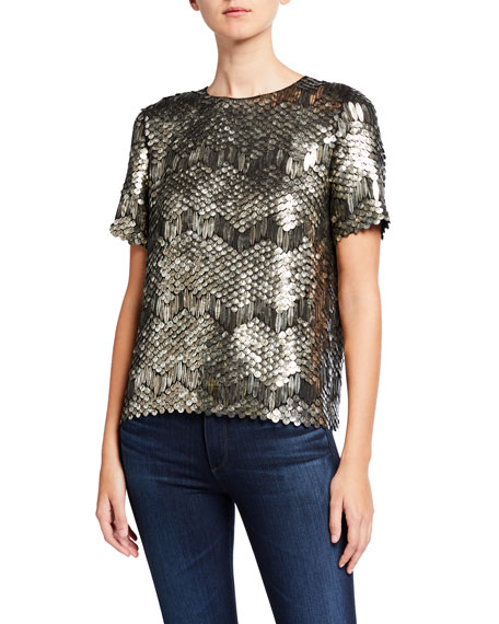 Elie Tahari Java Paillette Embellished Short-Sleeve Shirt
