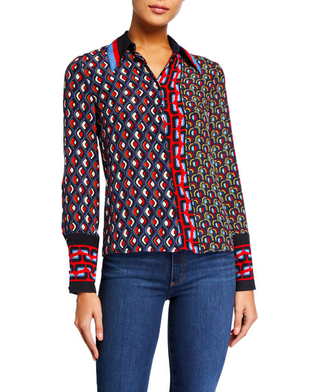 Alice + Olivia Willa Large-Cuff Placket Top