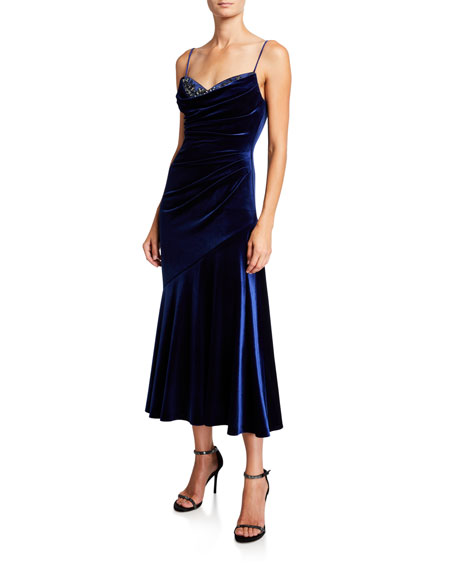 Theia Beaded Sweetheart Velvet Midi Slip Dress