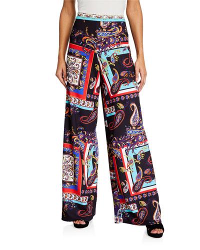 Athena Printed Wide-Leg Pants