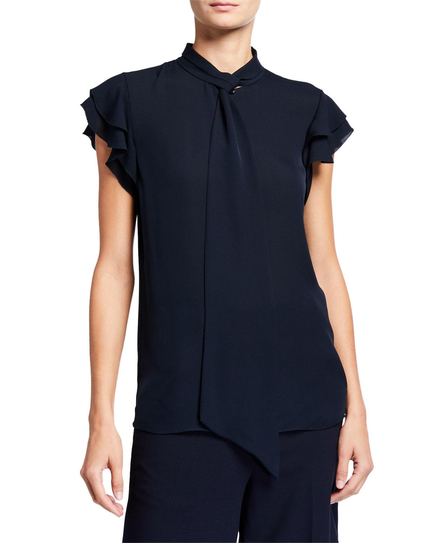 Elie Tahari T-shirts BREE TIE-NECK CAP-SLEEVE SILK SHIRT