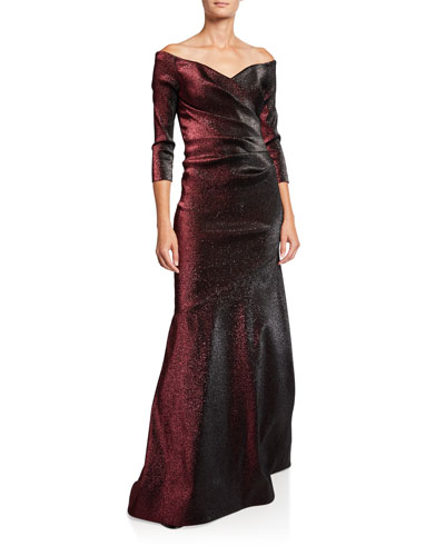 Off-the-Shoulder Metallic Stretch Gown