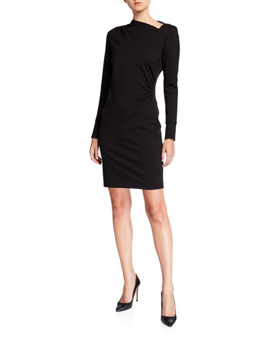 Mozelle Asymmetric Long-Sleeve Ponte Dress