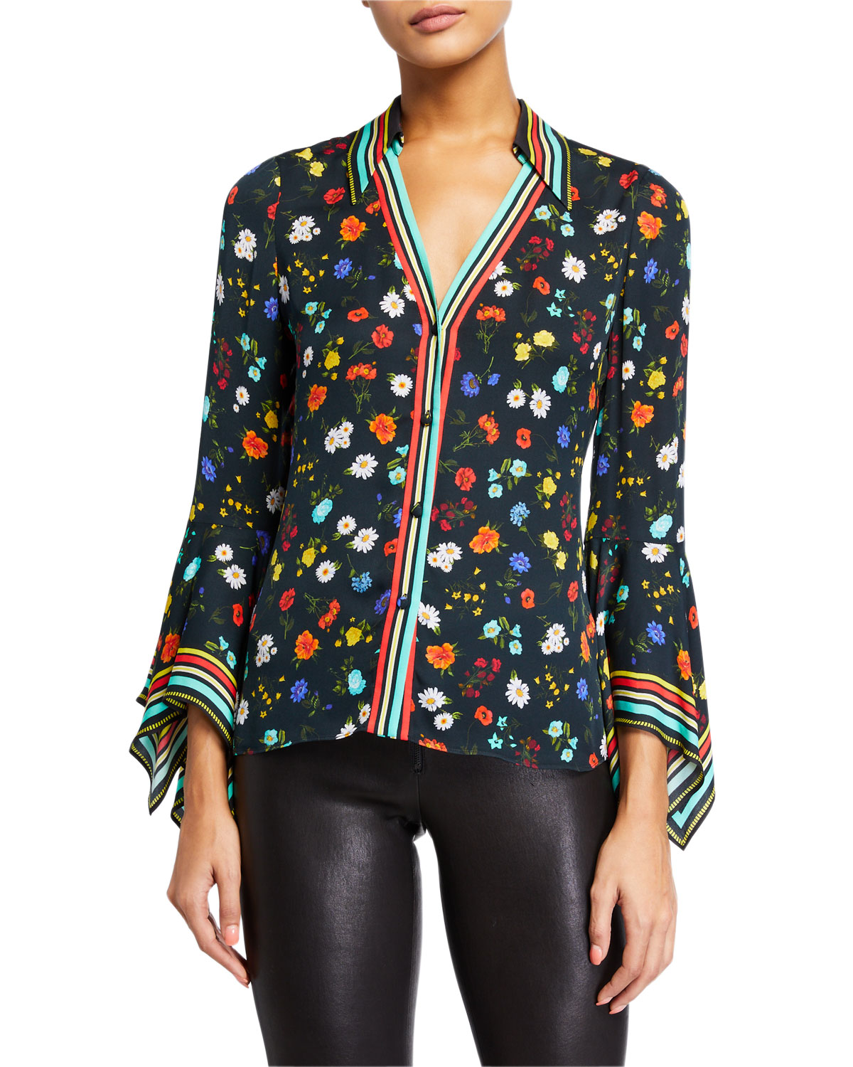 Alice And Olivia Tops RANDA TRUMPET-SLEEVE BUTTON-DOWN TOP