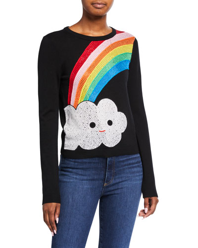 Friends With You X Alice + Olivia Connie Embellished Rainbow Pullover