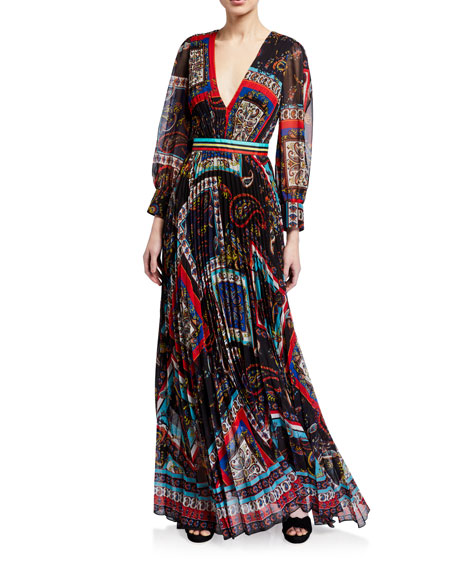 Alice + Olivia Cheney Slit-Sleeve Pleated Maxi Dress