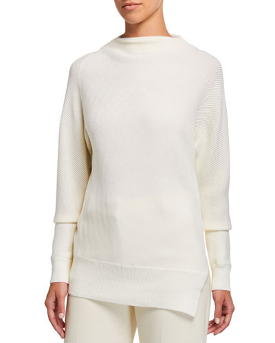 Asymmetrical Mock-Neck Sweater