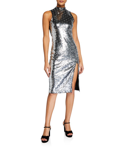 Malika Sequined Fitted Sleeveless Mock-Neck Dress