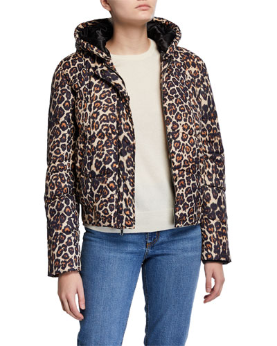 Liam Hooded Leopard-Print Puffer Jacket