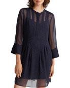 Club Monaco Silk Pintuck 3/4-Sleeve Dot-Print Dress
