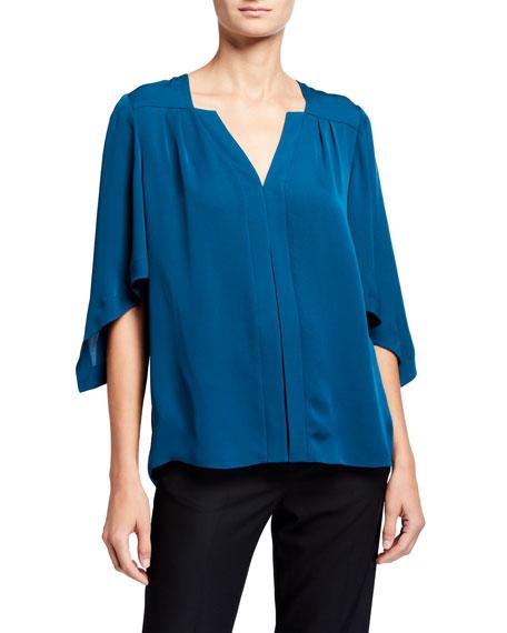 Elie Tahari Olympia V-Neck 1/2-Sleeve Silk Shirt