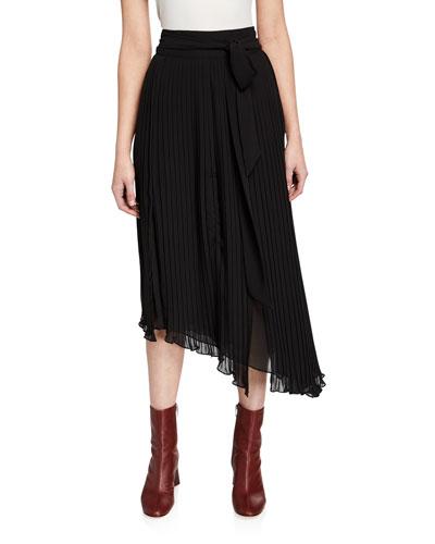 Asymmetric Plisse Maxi Skirt
