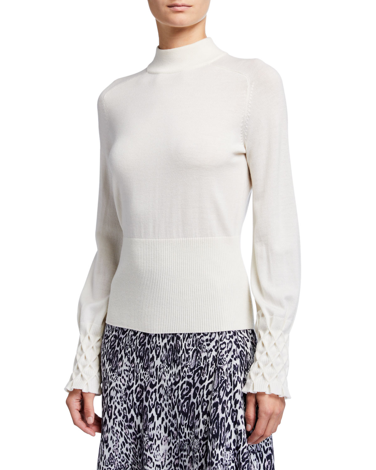 Elie Tahari Sweaters SKYLAR MOCK-NECK TEXTURED CUFF MERINO WOOL SWEATER