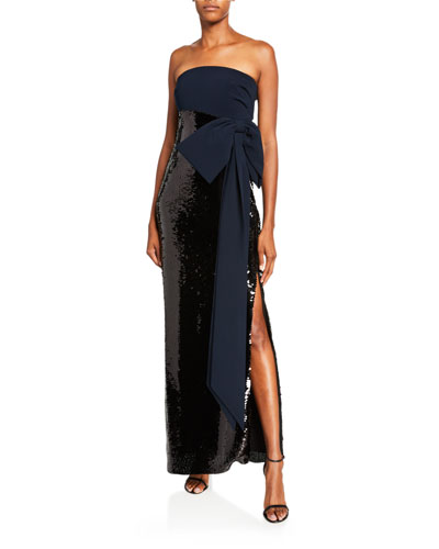 Siena Strapless Column Gown w/ Sequin Skirt & Bow Accent