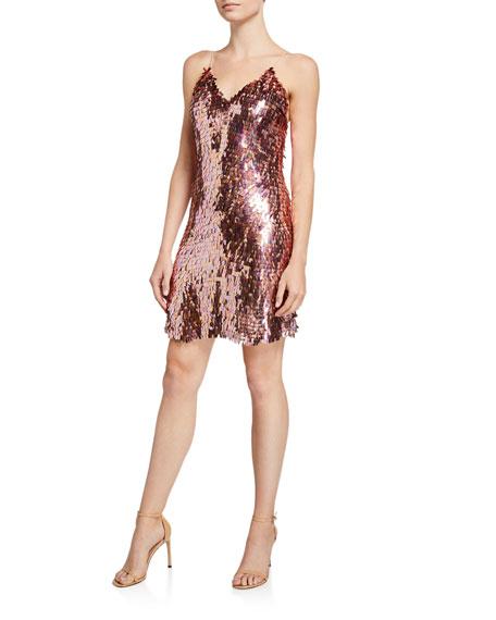 Alice + Olivia Contessa Sequined V-Neck Spaghetti Strap Dress