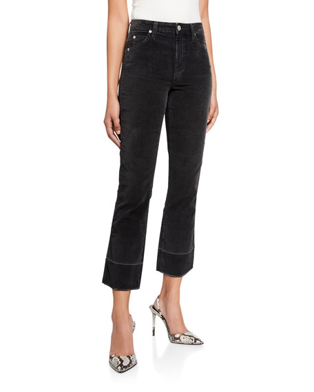 AMO Denim Bella Velveteen High-Rise Boot-Cut Jeans