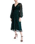 Carmen Marc Valvo Infusion Floral Embellished V-Neck Long-Sleeve