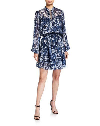 Alura Printed Blouson-Sleeve Smock-Waist Dress